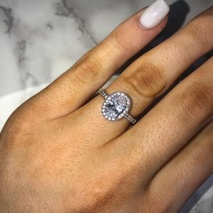 Oval halo Cz engagement ring
